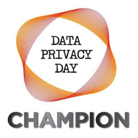 """Data Privacy Day"" enclosed in an orange circle with word Champion beneath"