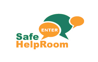 Safe helproom logo with speech bubble saying enter