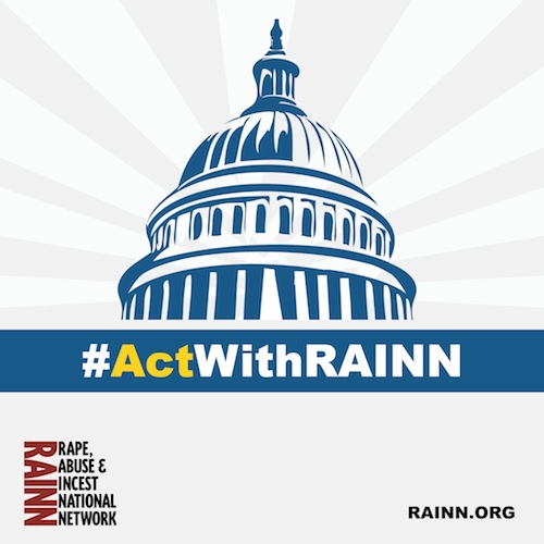 Capitol dome clipart with words hashtag act with RAINN underneath