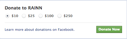 Screen grab showing the amounts you can choose to donate to RAINN on facebook