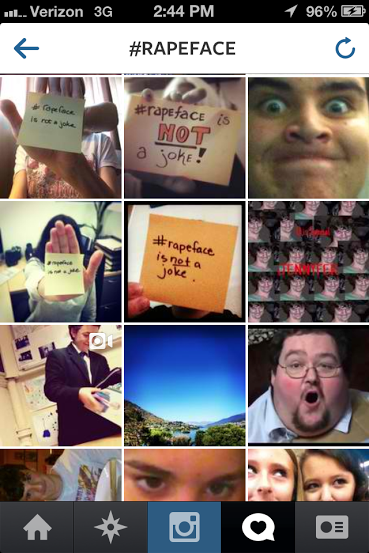 "Screen grab from instagram showing many survivors holding signs saying ""hashtag rape face is not a joke"""