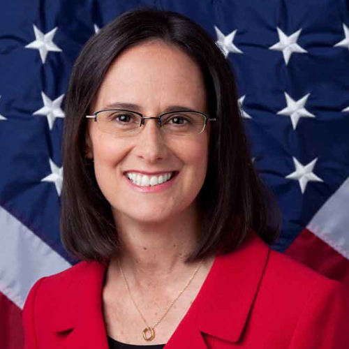 Illinois Attorney General Lisa Madigan portrait with American flag