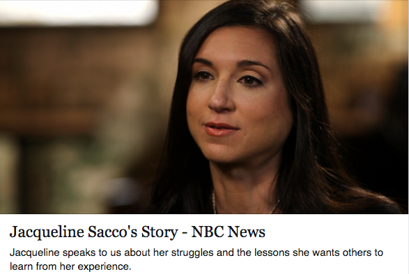 "Sexual assault survivor Jacqueline portrait with caption ""Jacqueline Sacco's Story - NBC News. Jacqueline speaks to us about her struggles and the lessons she wants others to to learn from her experience"" below"