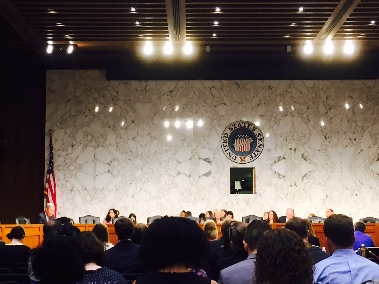 United States Senate emblem on a marble wall by an American flag in front of a large crowd