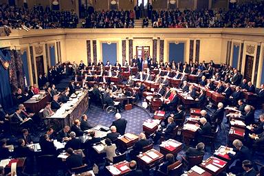The United States Senate gathers in the chamber to vote