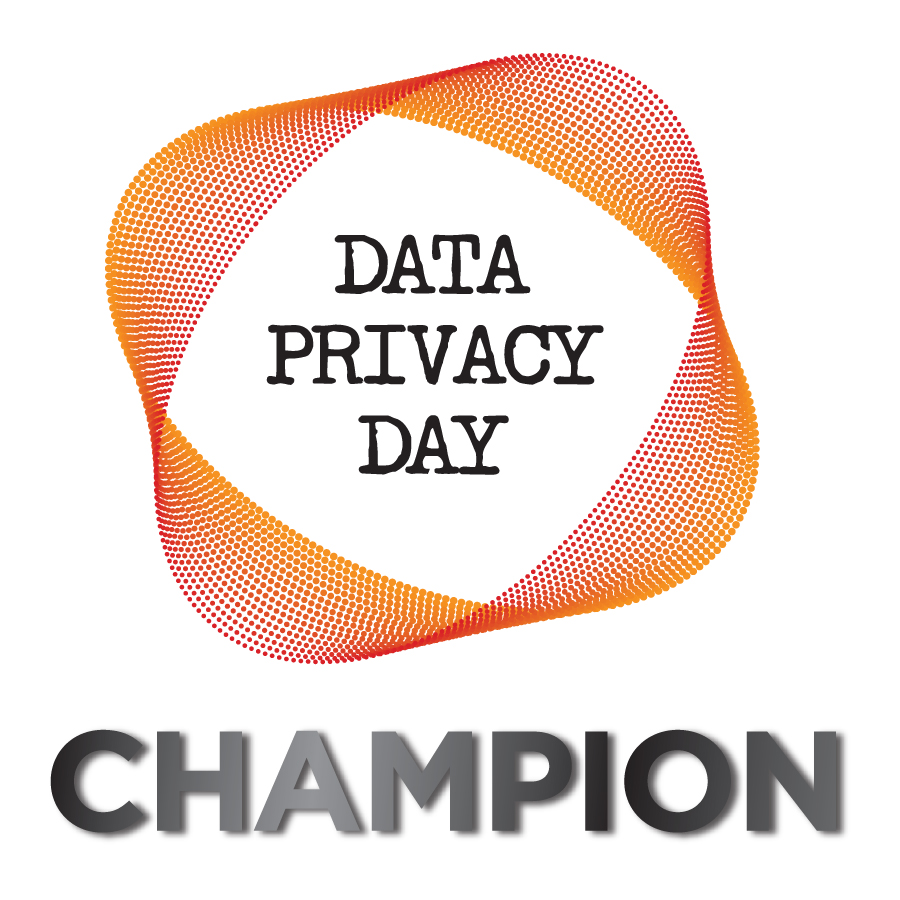 Data Privacy Day Champion surrounded by an orange circle