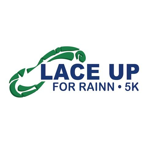 Logo. Lace Up For RAINN 5K. Green shoeprint.