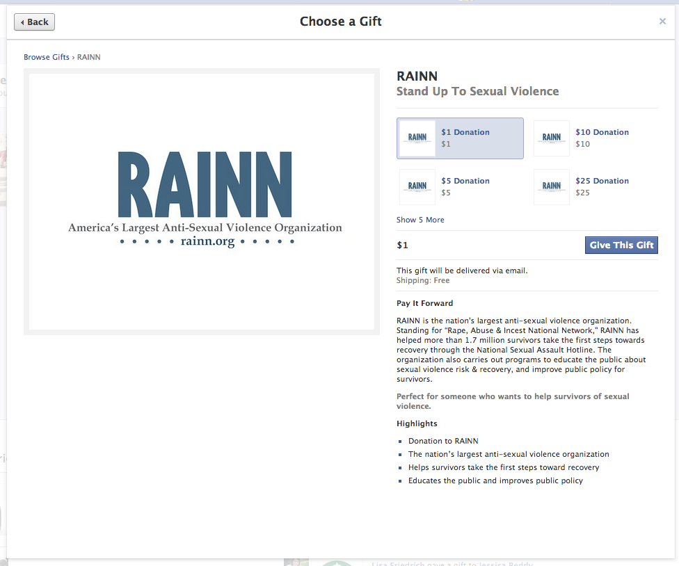 Screen grab showing RAINN donation page on facebook