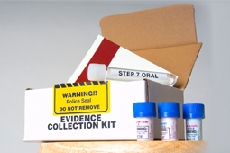 DNA rape kit with yellow sticker stating Warning: police seal do not remove