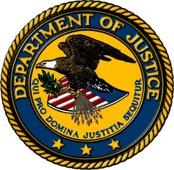 Department of Justice seal. Eagle carrying an olive branch flying over an American flag.