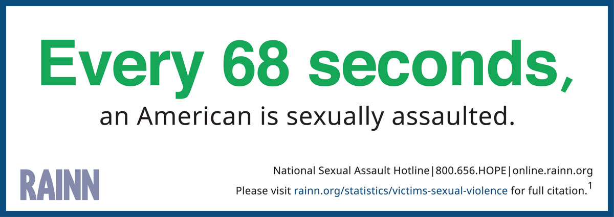"""Infographic reading """"Every 73 seconds an American is sexually assaulted."""""""