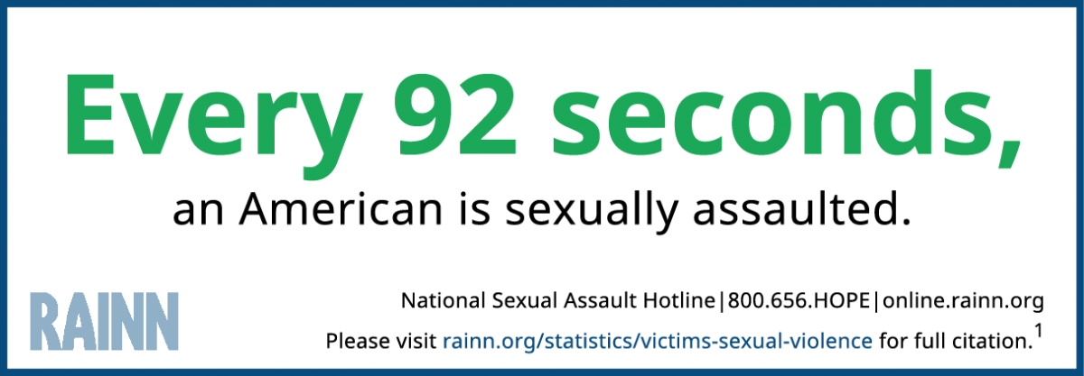 "Infographic reading ""Every 92 seconds an American is sexually assaulted."""
