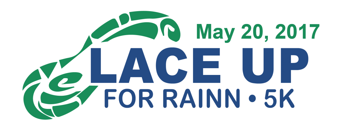 Lace up for RAINN 5K logo with blue text over a green shoe print. May 20, 2017