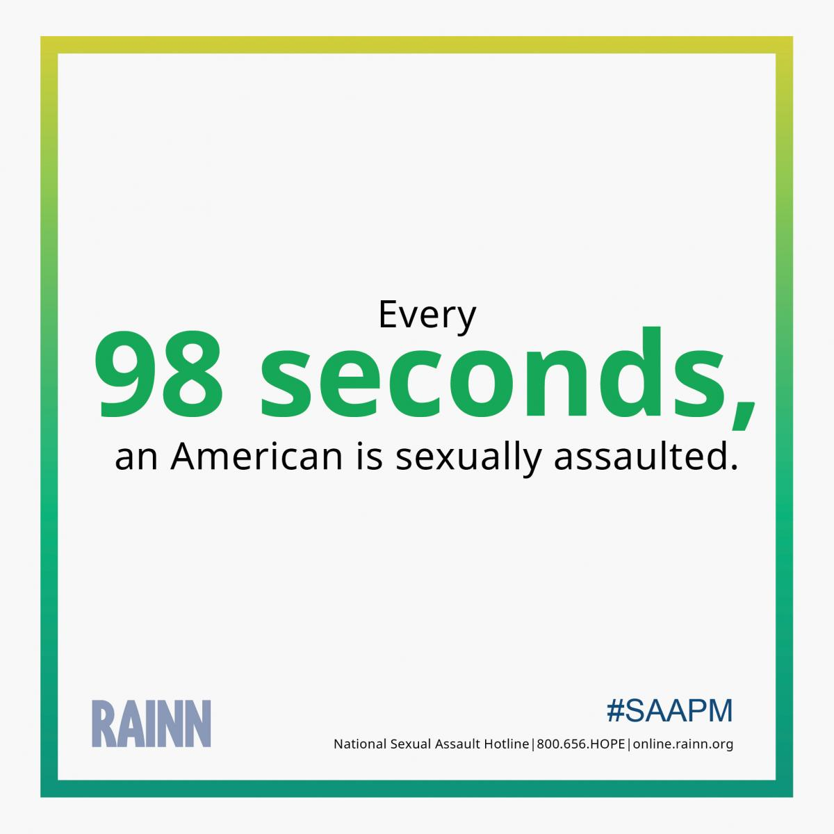 Instagram-ready graphic stating: Every 98 seconds, an American is sexual assaulted