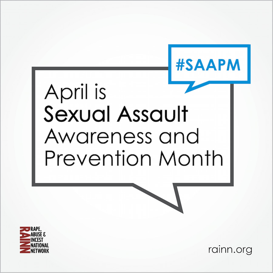 "Two speech bubbles saying ""April is Sexual Assault Prevention and Awareness Month"" and ""hashtag SAAPM""."
