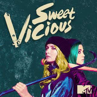 Poster for MTV show Sweet/Vicious featuring two girls standing back to back
