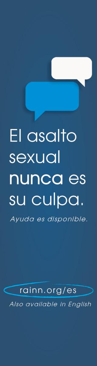 Downloadable graphic banner stating: el asalto sexual nunca es su culpa